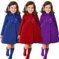 Nueva primavera 2016 cabritos del bebé del invierno abrigo de lana para niños, niñas abrigo largo de lana caliente, niños chaquetas, ropa de los bebés casual