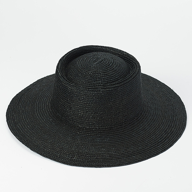 Black Straw Hats Men Summer Sun Hat Wide Brim Fedora Straw Beach Hat Seagrass Outdoorsman Hat Derby Gambler Hat