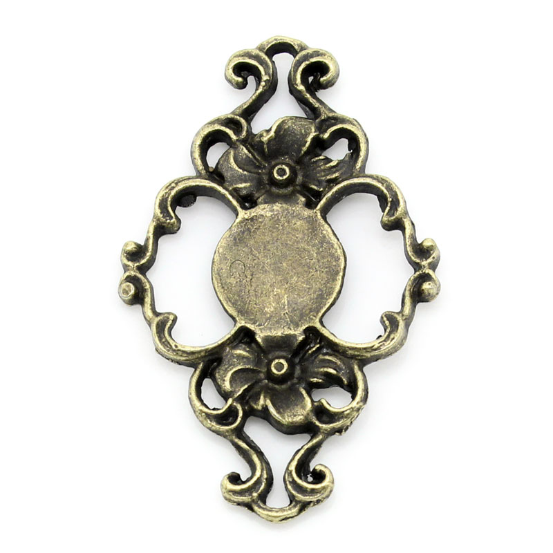 Zinc Metal Alloy Embellishments Findings Rhombus Antique Bronze Flower Hollow Pattern 4.2cm X 27mm ,3 PCs New