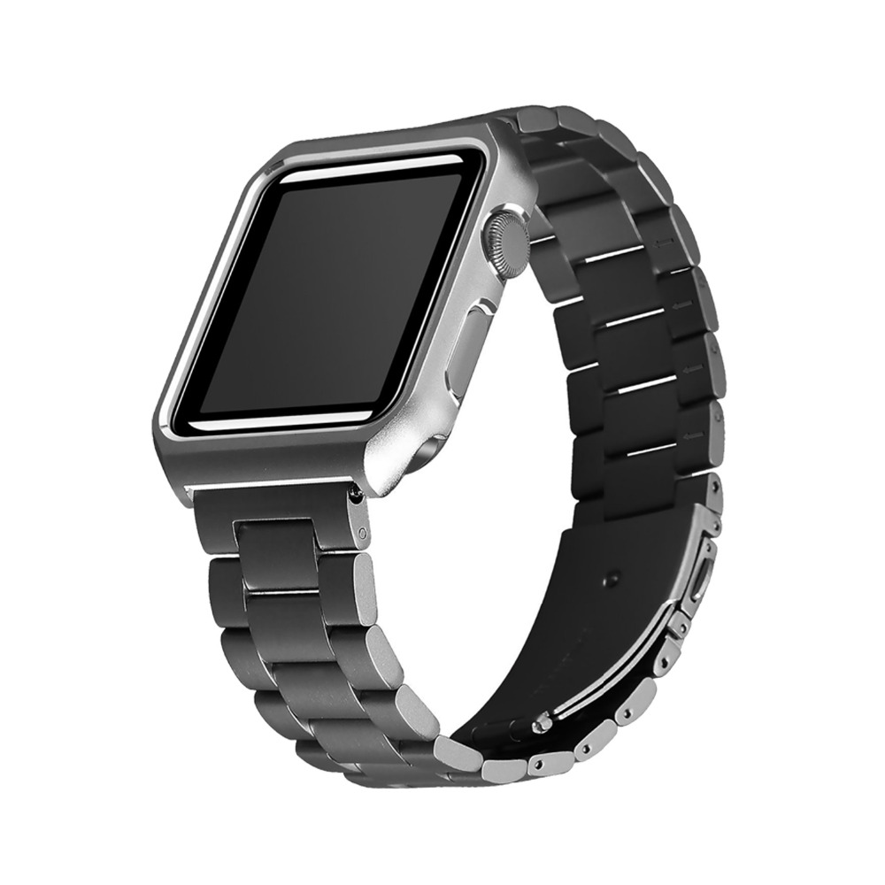 CRESTED stainless steel watch strap for apple watch band 42mm/38mm metal bracelet strap for iwatch series 1/2 with case black crested stainless steel watch band for fitbit charge 2 bracelet smart watch strap for fitbit charge2 with connector