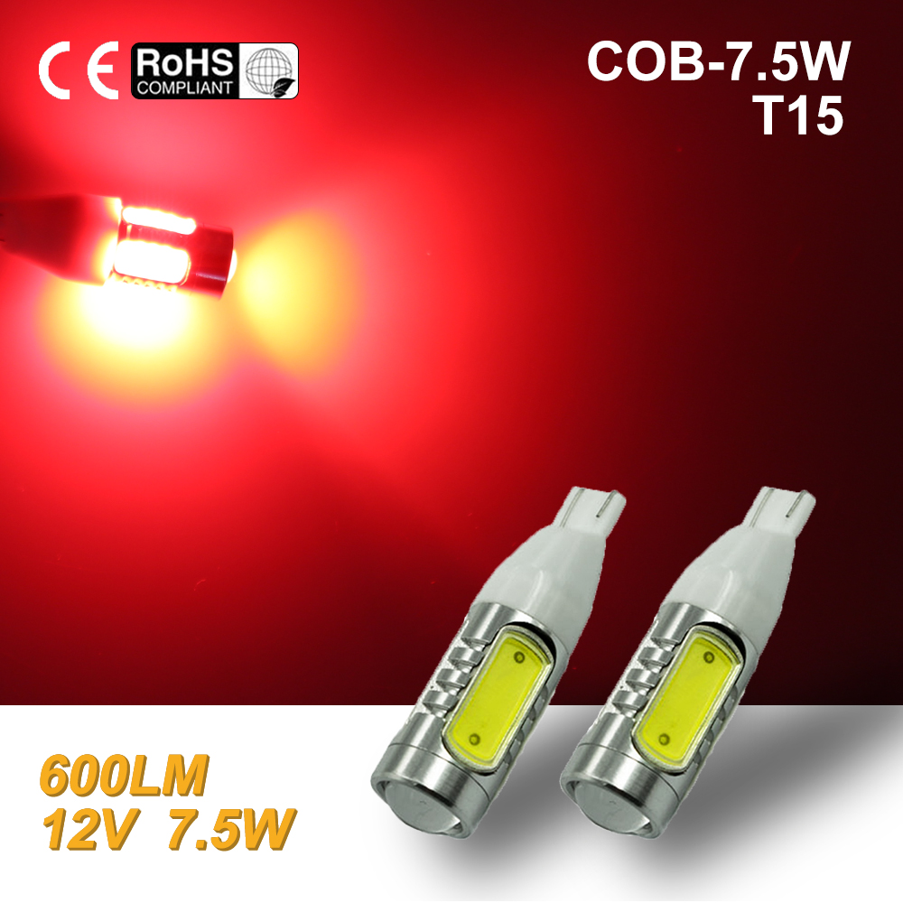 White High Power COB T10/T15 7.5W LED Projector Backup Reverse LED Lights 921 red