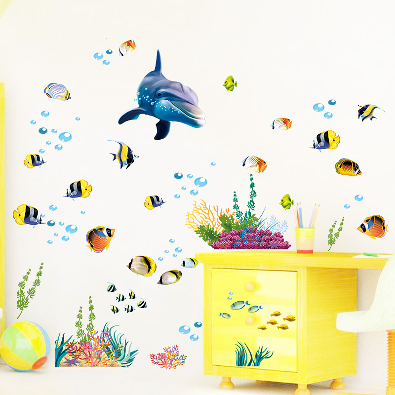 Sealife Dolphin Fish Coral Sea World Wall Stickers Home Decoration Mural Art 3d Decals Posters Kids Gift