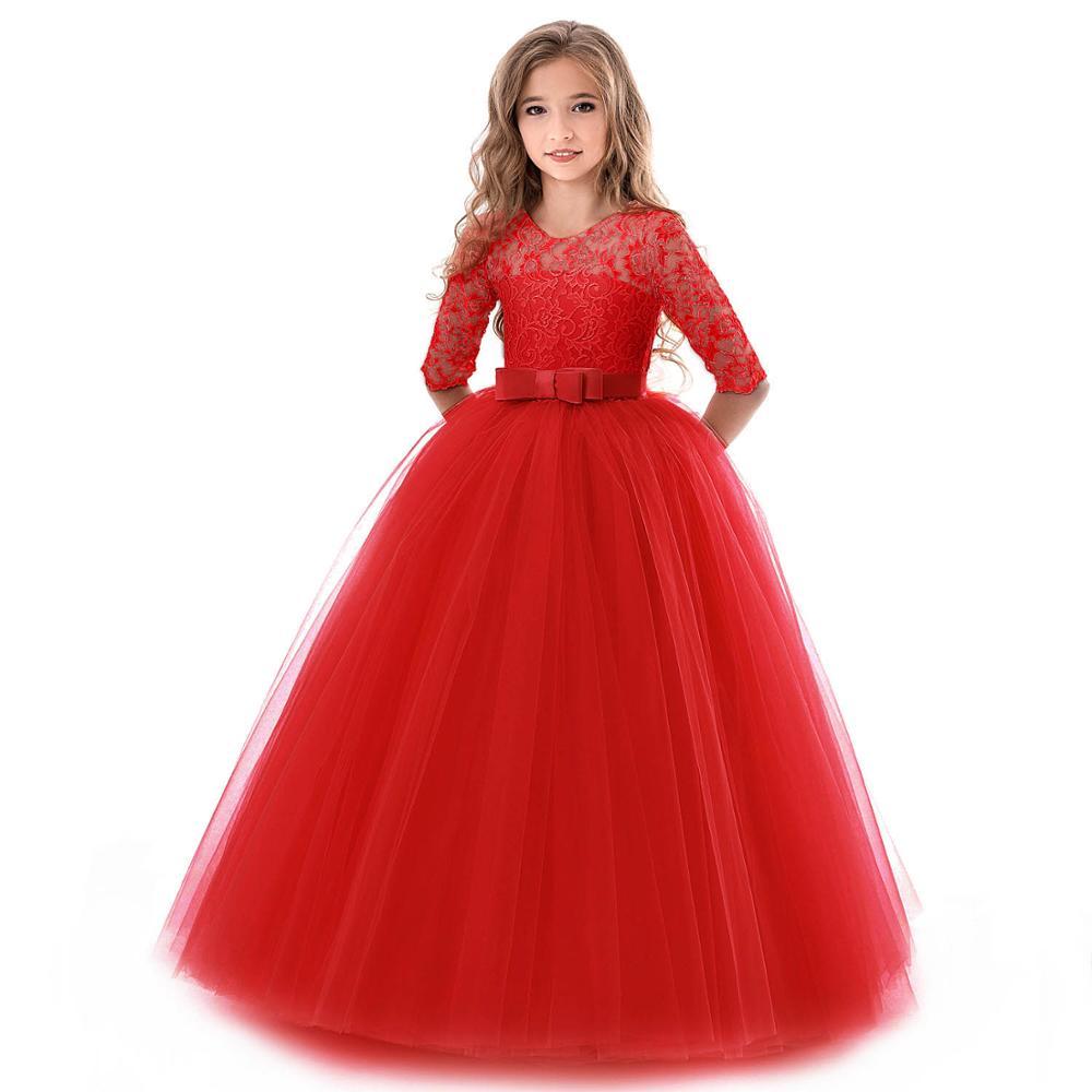 0edb382855f3a Teenage Dress For Girls Solid Long Sleeve Princess Elegant Costume Flower  Girls Wedding Party Girls Clothes Birthday Vestidos