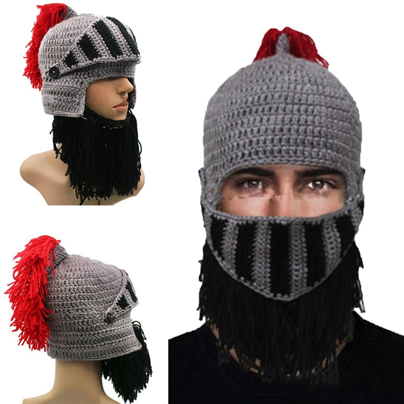 Novelty Funny Prank Beard Jazz Hat 100% Handmade Knit Crochet Wig Mask Beanie