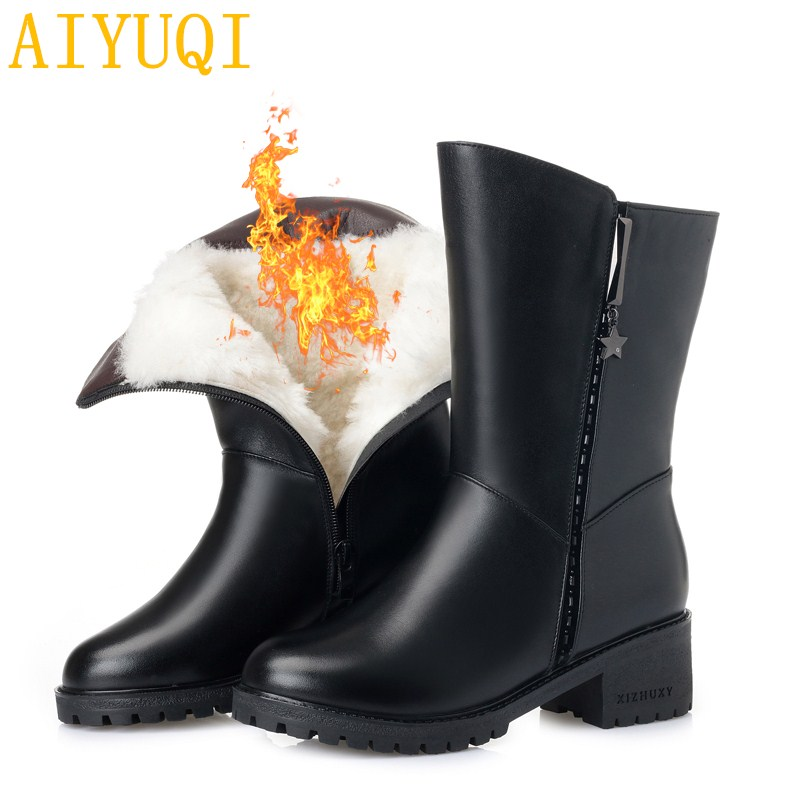 AIYUQI 2018 new natural genuine leather ladies winter boots,plus size 41 42 Martin boots women,Wool warm snow boots women shoes aiyuqi plus size 41 42 43 women s flat shoes 2018 spring new genuine leather women shoes soft surface mom shoes women