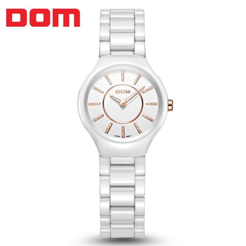ФОТО DOM Casual Quartz Watch Ceramic Band Watch Women Relojes Mujer 2016 Ladies Wristwatch Rhinestone Waterproof Analog Quartz-watch