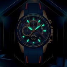 LIGE Watch Blue Leather Strap LIGE9962