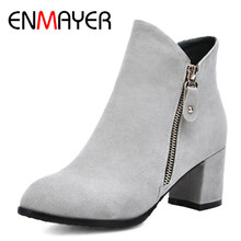 купить ENMAYER 2018 Sexy Woman Boots Metal Round Toe Boots Women Shoes Woman High Heels Square Heels Platform  Ankle Boots CL007 по цене 2506.25 рублей