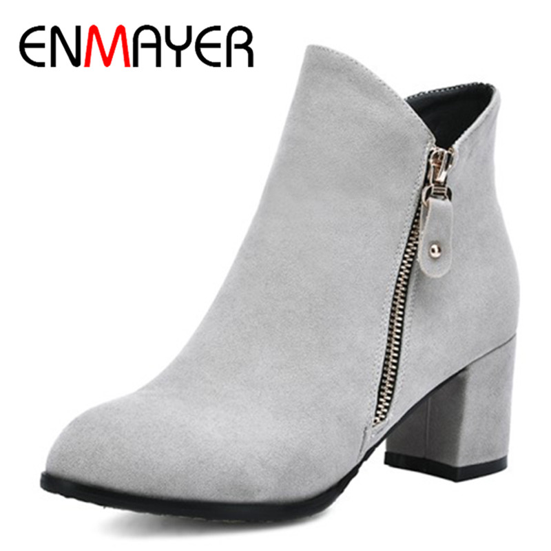 ENMAYER 2018 Sexy Woman Boots Metal Round Toe Boots Women Shoes Woman High Heels Square Heels Platform Ankle Boots CL007 ...