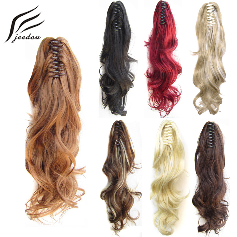 Hair Extensions & Wigs Synthetic Extensions Honesty Jeedou 24 60cm 160g Synthetic Wavy Long Gradient Ponytails Hair Extensions Claw Ponytail Red Blond Color Layered Hairstyles Bright And Translucent In Appearance