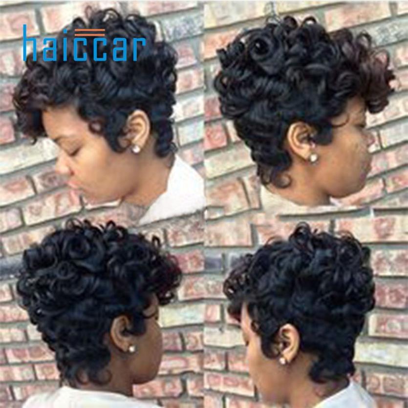 Women Short Black Brown FrontCurly Hairstyle Human Hair Wigs For Black Ju 19 black short synthetic hair wigs for black women african american black wig natural hair wigs for women short curly afro wig