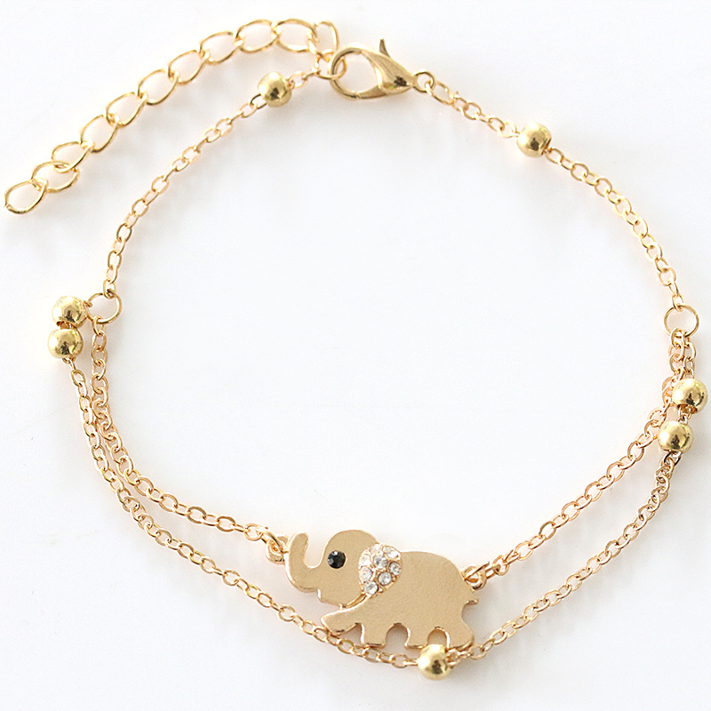 Ankle Bracelets Foot Leg Chain Gold Color Crystal Elephant Charm Anklets For Women Double Chains Barefoot Sandals Beach Jewelry In From