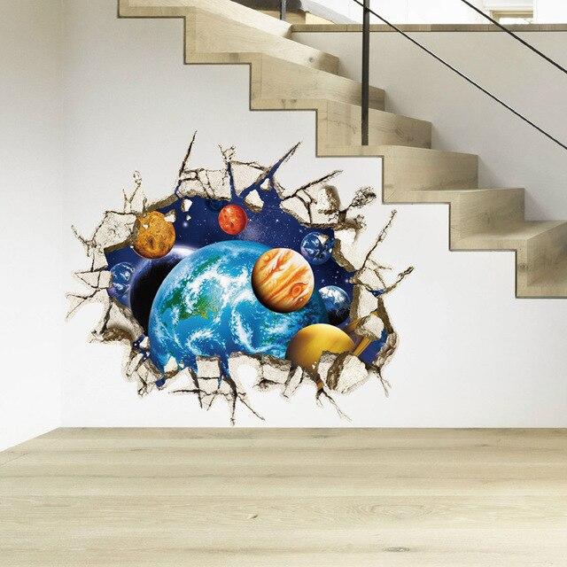 Children 3D Galaxy Space Stickers Wallpaper Cartoon Cosmic Meteor Ceiling Wall  Murals Home Boys Bedroom School Part 66