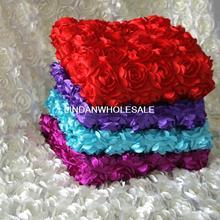 Gute qualität Stereoscopic rosen teppich stoff, hochzeitsdekoration, künstliche blumen, satin stoff, 2 yard/lot