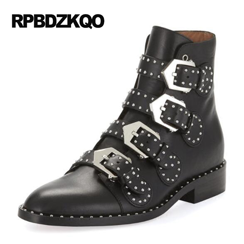 Women Booties Black Stud Chunky Punk Rock Boots Comfortable Ankle Shoes Designer Flat Brand Waterproof Metal Rivet Female women white brogue stud shoes british style metal flats rivet fashion oxfords black designer spring autumn punk rock belts zip