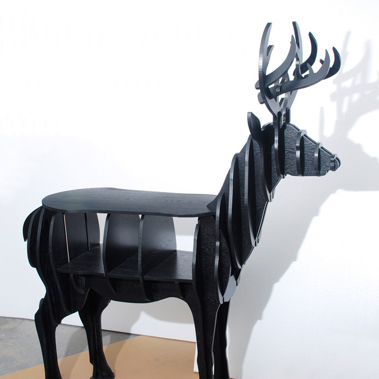 FREE SHIPPING deer elk side table European DIY Arts Crafts Home Decoration deer wood craft gift desk self-build puzzle furniture sitemap 258 xml