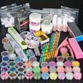 Venta al por mayor profesional 42 polvo líquido de acrílico Glitter Clipper Primer lima de uñas de arte Tool Tips Brush Tool Set Kit