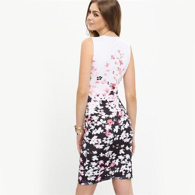 2017 New Summer Style Bodycon Dresses Vintage Ladies Sexy Floral Print Sleeveless O Neck Elegant Women Dress