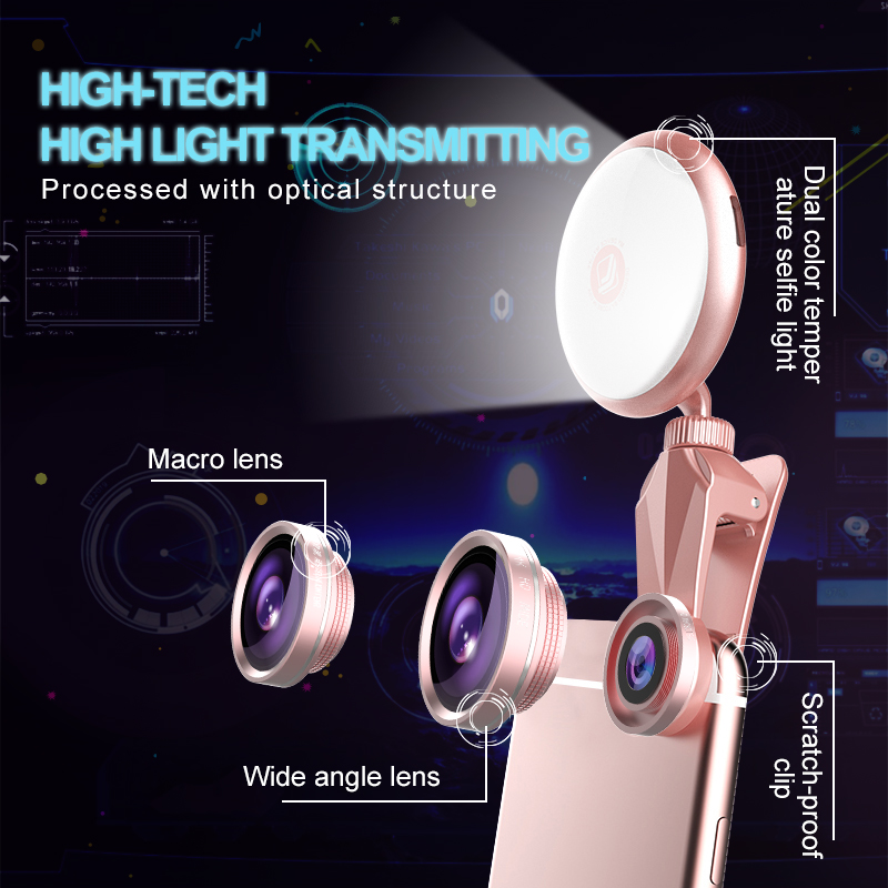 Universal LED Selfie Flash Light Beauty RK19S Fill Light with Macro Fisheye Wide Angle Lens 4 Warms 4 Cold Bulbs For All Phones