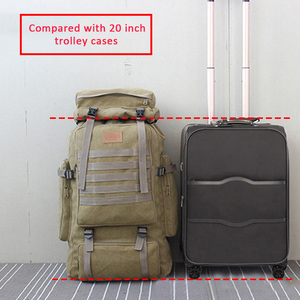 Image 2 - 60L 대형 군사 가방 캔버스 배낭 전술 가방 캠핑 하이킹 배낭 군대 Mochila Tactica 여행 몰리 남자 야외 XA84D