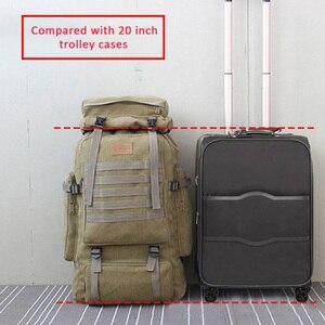 Image 2 - 60L大型軍用バッグキャンバスバックパック戦術的なバッグキャンプハイキングリュックサック軍mochilaタクティカ旅行モール男性屋外XA84D