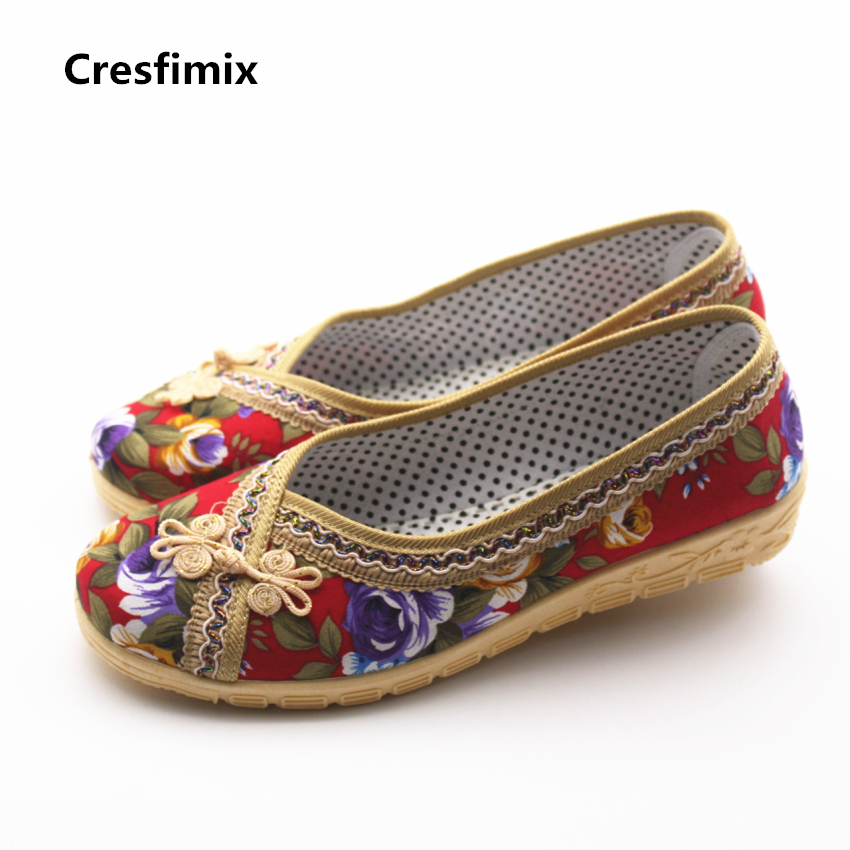 Cresfimix sapatos femininas women casual floral printed cloth shoes lady cute spring & summer flower slip on shoes fashion shoes cresfimix sapatos femininas women casual soft pu leather flat shoes with side zipper lady cute spring