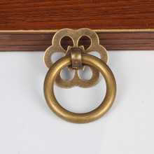 Chinese Brass Wood Case Box Handles Pulls Antique Brass Furniture Ring Small Knobs Wooden Cabinet Kitchen Pull Drawer Handle