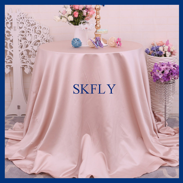 CL053C Wedding Fancy 108 Inch Round Champagne Blush Thick Satin Table Cloth