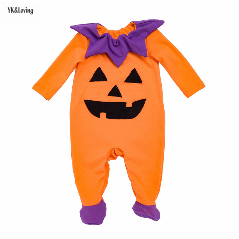 Halloween Baby Footies Funny Pumpkin Shape Funny Clothes Long Sleeve Orange Toddler Clothes Party Costumes 0-2Y