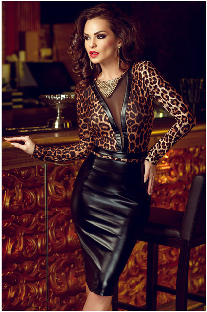Sexy Leopard Print Dress Women Long Sleeve Mesh Patchwork Vestido Faux  Leather Back See Through Dress Party Clubwear 98ec654df