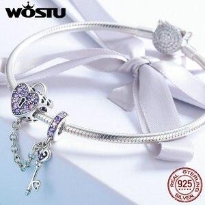 Image 3 - سلسلة من الفضة الإسترلينية WOSTU بمفتاح وقفل على شكل قلب مرصعة بالكريستال المرصع بالزركونيوم المكعّب بها خرز على شكل سلسلة سوار وإسورة للنساء مجوهرات عصرية CQC772