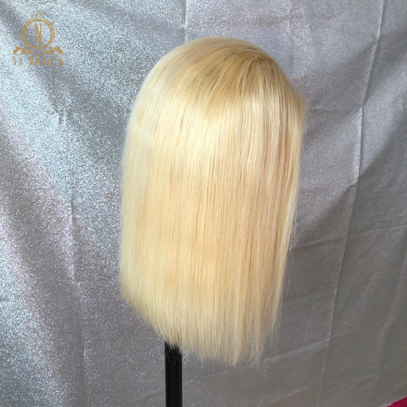 HTB1JePIPcfpK1RjSZFOq6y6nFXaz 613 Short Bob Wigs 1B 613 Ombre Honey Remy Pre Plucked Straight 13x6 Blonde Lace Front Human Hair Wig for Women Natural Black