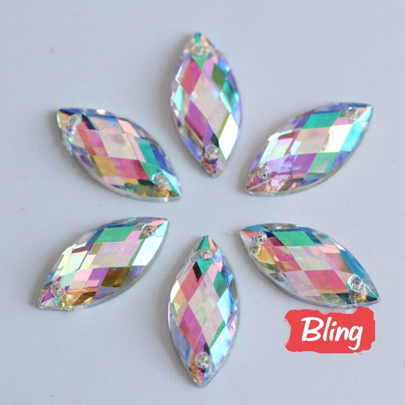 100PCS Sewing Crystals AB Flatback Rhinestones Sew On Rhinestones Acrylic Strass Horse Eye Crystal For DIY Clothes Crafts B0629
