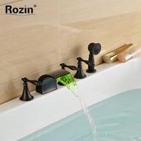 Oil Rubbed Black LED Color Changing Bathtub Faucet Deck Mount 5pcs 5 Holes Waterfall Bath Tub