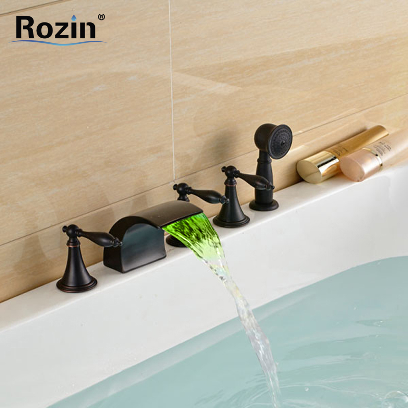 Oil Rubbed Black LED Color Changing Bathtub Faucet Deck Mount 5pcs 5 Holes Waterfall Bath Tub Mixer Tap