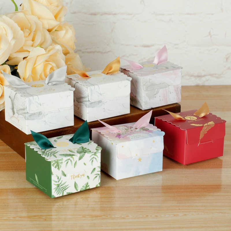 CEVENT 10 шт Единорог бумажные подарочные пакеты квадратная коробка для конфет для единорога вечерние детские Душ коробка для поздравительных открыток с лента принадлежности для вечеринки