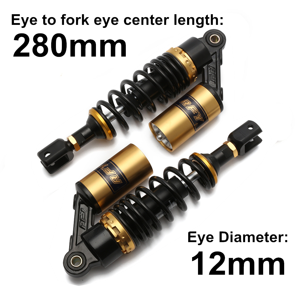 Universal 11 280mm Motorcycle Air Shock Absorber Rear Suspension For Yamaha Motor Scooter ATV Quad Gold