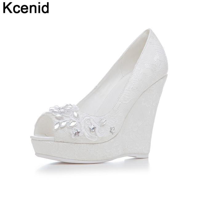 4ce912dc986 Kcenid 2018 New fashion rhinestone summer wedding shoes woman peep toe slip  on high heels platform wedges shoes big size 33-43