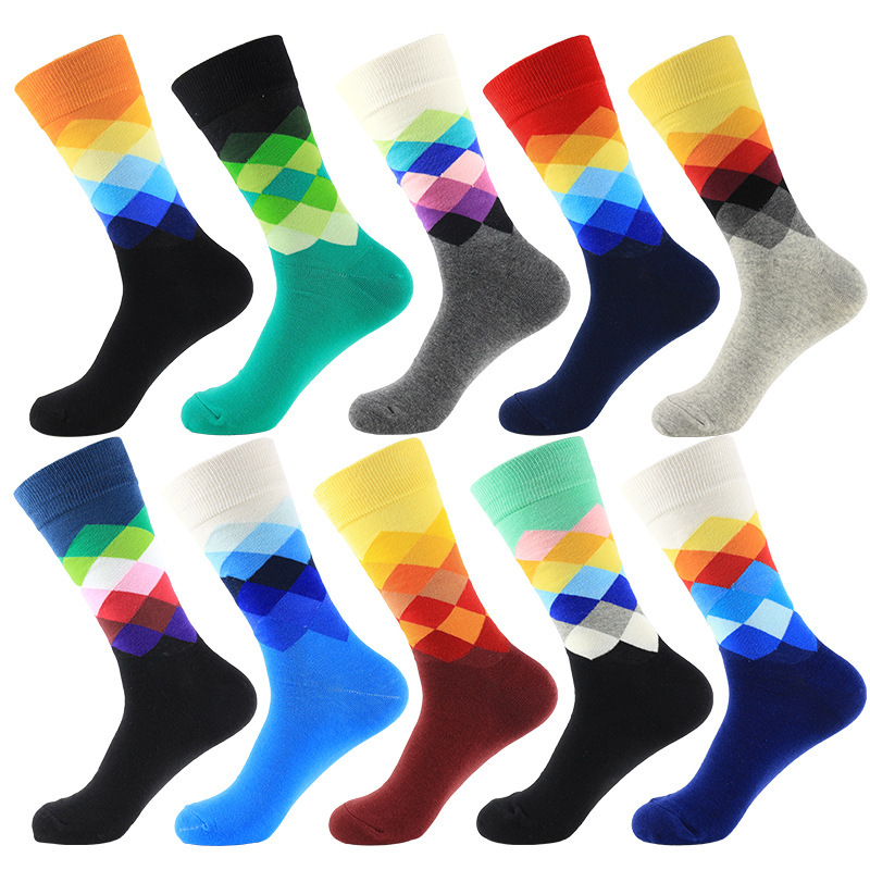 PEONFLY Casual Harajuku Men Socks Cotton Funny Sock Vintage Diamond Plaid Rainbow Socks Meias For Business Dress Socks
