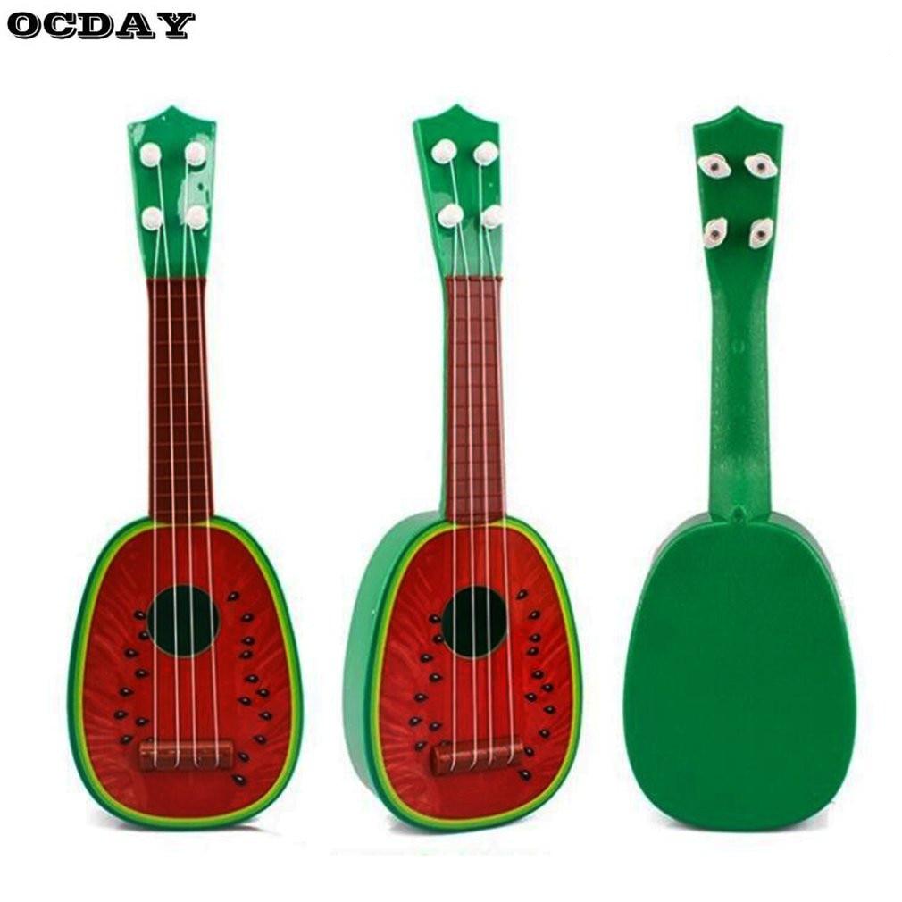 Лидер продаж! 32 см Пластик Гитары Гавайские гитары укулеле 4 Строка фрукты Для детей Портативный развитие Образовательный музыкальный инст... ...