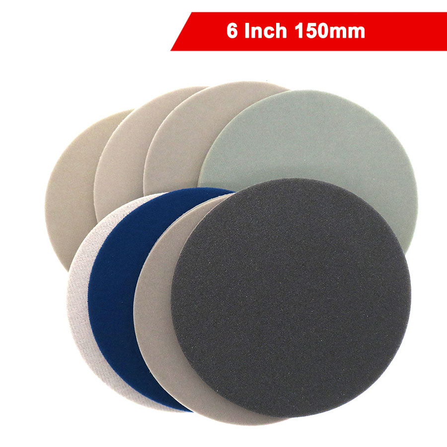 1-20Pcs 6 Inch 150mm Wet Dry Sponge Sandpaper Disc Back Velvet Self-adhesive 300-3000 Grit Sanding Abrasive Tools Accessories