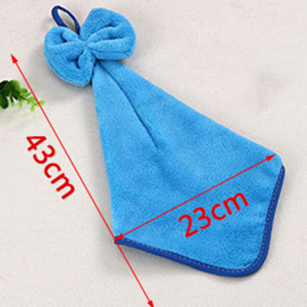 Four colors Bow Knot Coral Velvet Absorbent Hand Towels Hanging ...