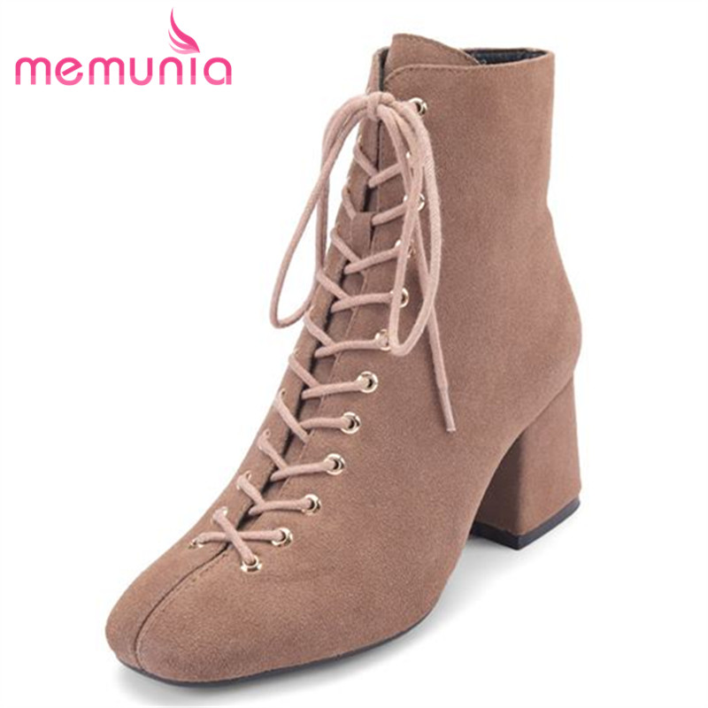 MEMUNIA 2018 suede leather boots for women fashion autumn winter boots square toe high heels ankle boots classic shoes woman enmayla autumn winter chelsea ankle boots for women faux suede square toe high heels shoes woman chunky heels boots khaki black