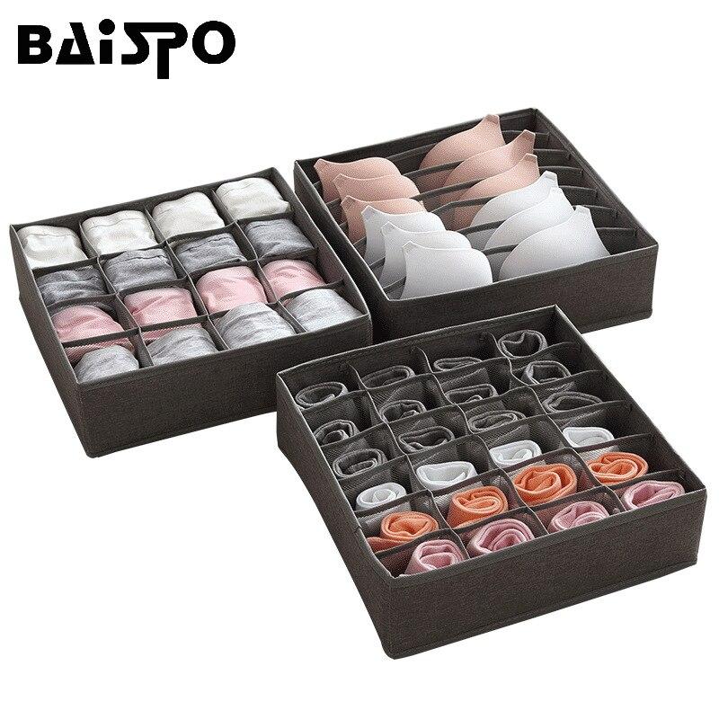 BAISPO Underwear Bra Organizer Large Capacity Drawer Closet Shorts Ties Socks Scarves Clothing Organization Foldable Cloth Boxs