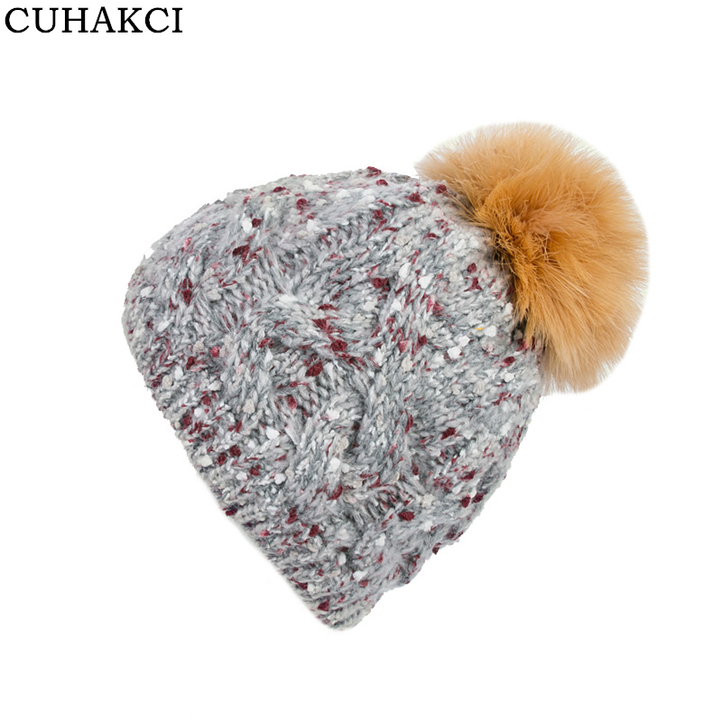 CUHAKCI Knitted Stripes Women Hat Acrylic Wool Skullies Fur Beanies Weave Spring Winter Caps Female Casual High Quality skullies