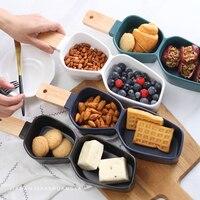36.5 cm mejor creativo brecha cerámica pastel con mango de madera porcelana brulee merienda plato queso cocina herramienta Vajilla bandeja