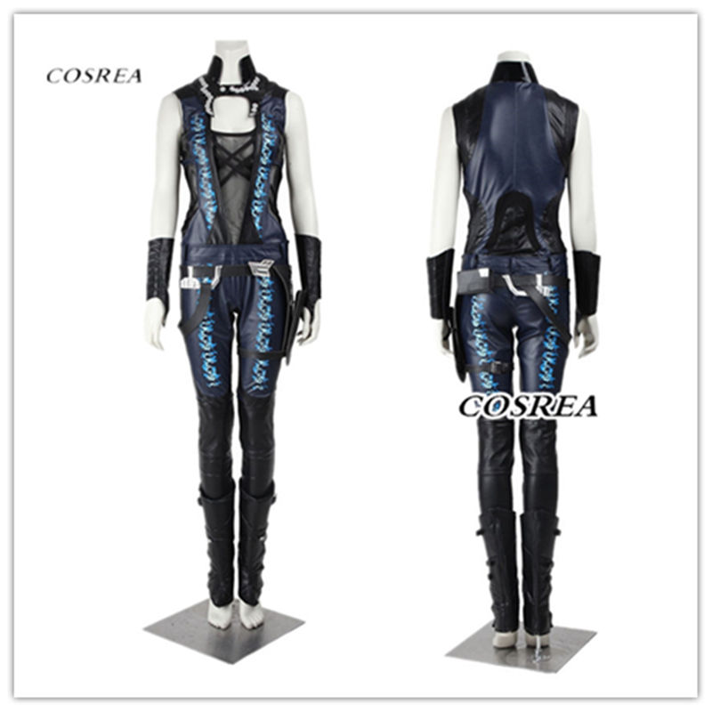 COSERA Guardians of The Galaxy Gamora Cosplay Costume Leather Jumpsuit Sexy Superhero  Halloween costumes for women Cosplay