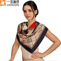 hot sale bandana satin silk square scarf for women 2017 Euro vintage style luxury brand large tartan plaid scarves foulard femme