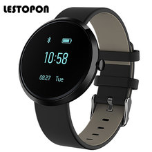 LESTOPON Smartwatch Trend Sensible Wristbands Watch With Coronary heart Price Monitor Pedometer Health Tracker Wrist Watches Black Leather-based