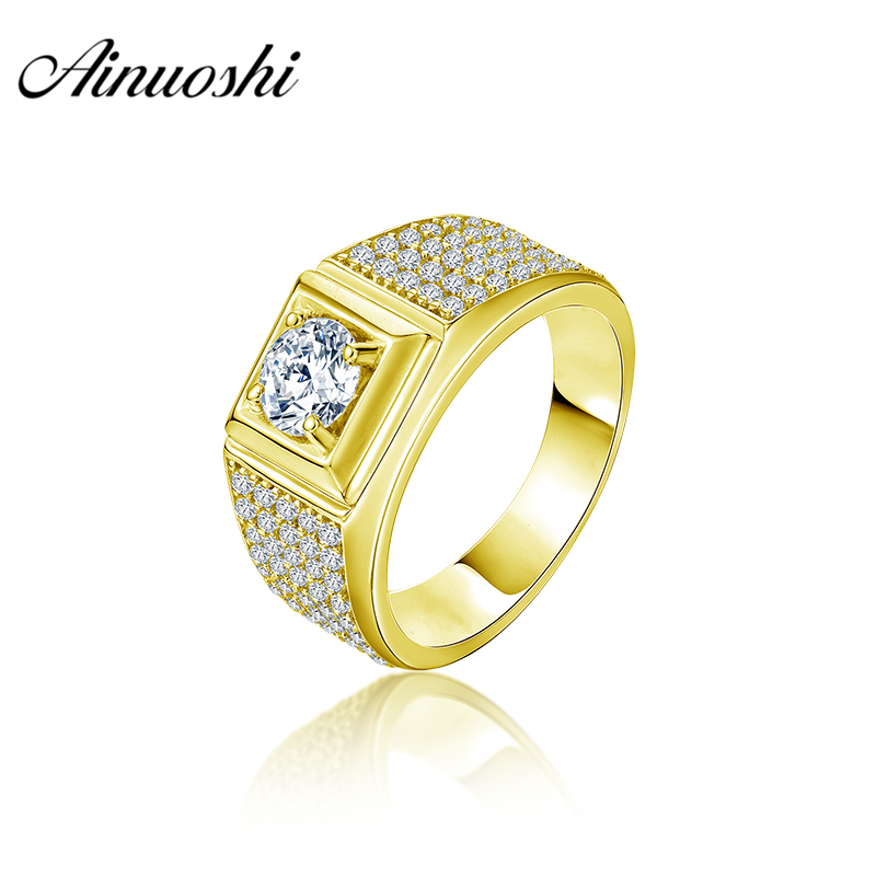 AINUOSHI 10K Solid Yellow Gold Men Ring Rows Drill Round Cut Ring Engagement Wedding Male Jewelry 5.6g Exquisite Wedding Band цена и фото